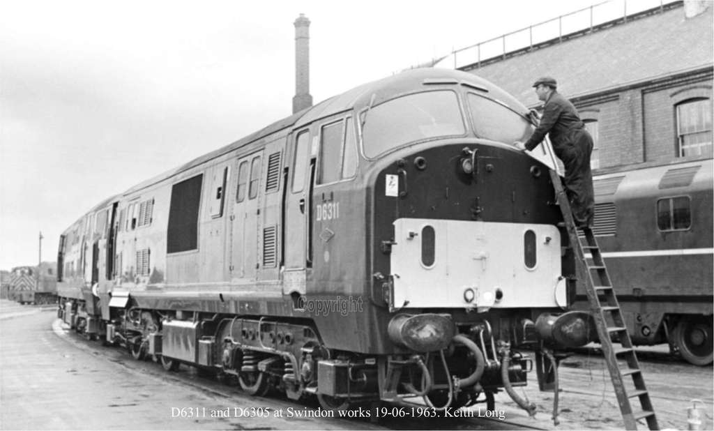 D6311 and D6305 at Swindon works 19-06-1963. Keith Long