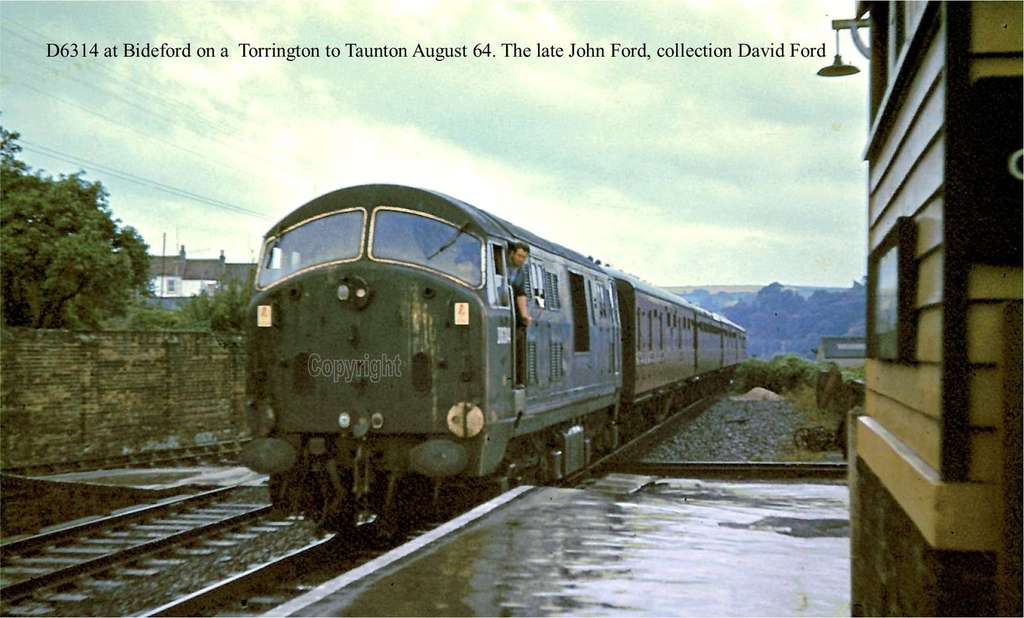 D6314 at Bideford on a  Torrington to Taunton August 64. The late John Ford, collection David Ford